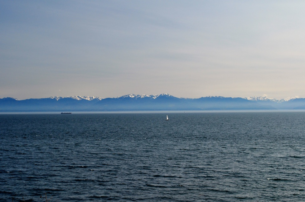 View of the Olympic Mountains over the Juan De Fuca Strait