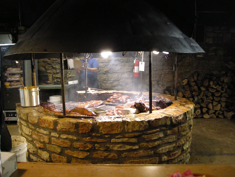 The enormous bbq pit at the Saltlick