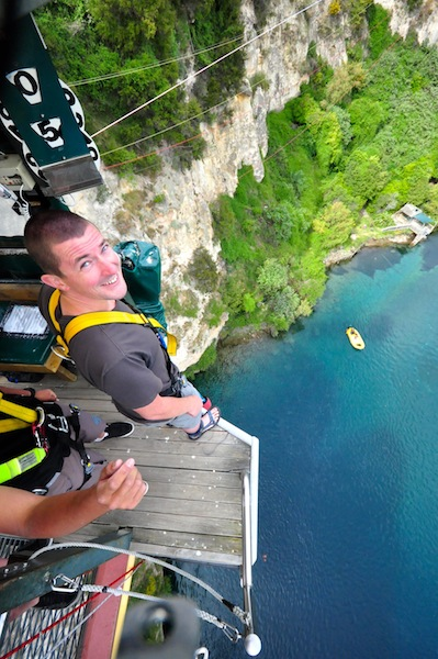 Paul ready to do the highest bungy over water in New Zealand