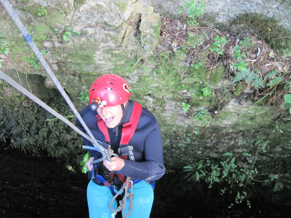 Me abseiling 27 metres into darkness