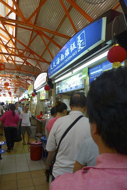 The queue for Tian Tian chicken rice