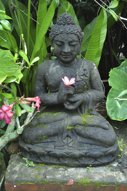 One of the beautiful statues in the garden at Ubud, Bali