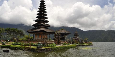The temple on Lake Beratan, Bali