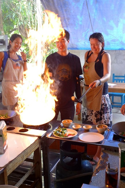 Check out the look on my face! Drunken noodles nearly ready