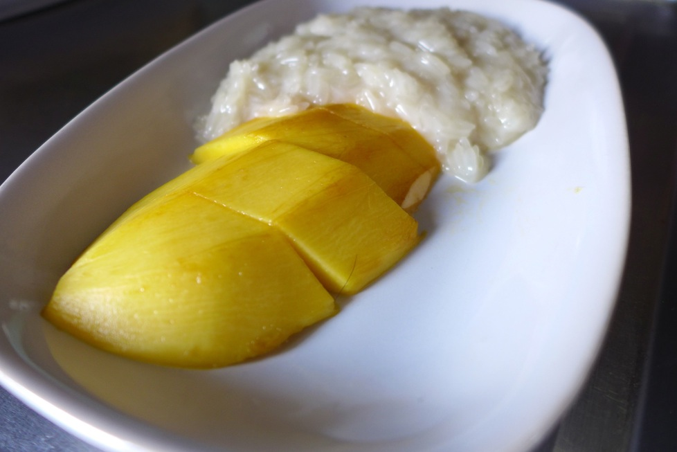 It may look boring but it's absolutely scrummy - mango with sticky rice