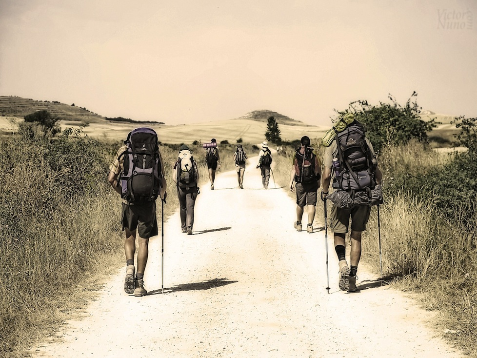 Hikers on the Camino de Santiago, France