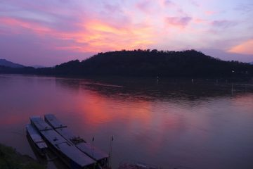 Gorgeous sunset from our favourite riverside restaurant