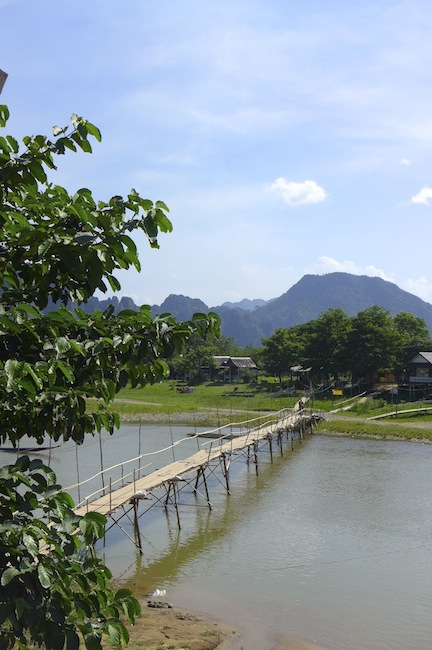 Bamboo bridge over the Nam Song