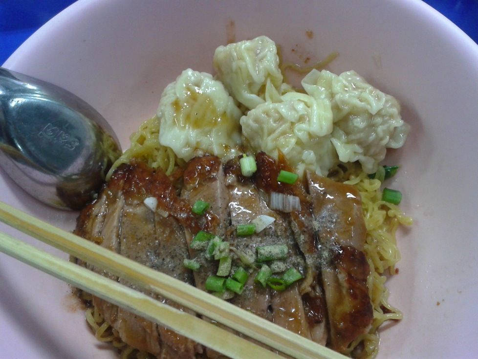 Yummy duck noodles with wontons