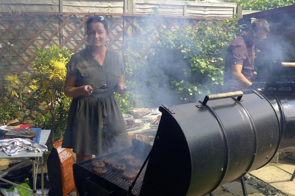 Me doing what I love best - this bbq was for 75 folks so there were 2 massive grills going at the same time