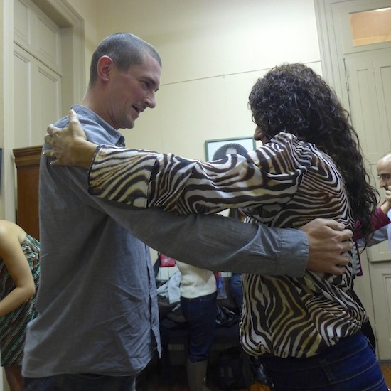 Paul dancing the tango with a fairly ferocious Brazilian lady