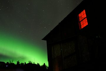Northern Lights with house in foreground - Fairbanks, Alaska