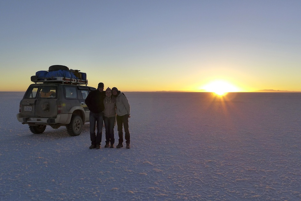 Watching the sun come up on the Salar
