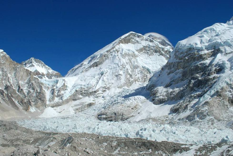 Khumbu Icefall and Mt Everest